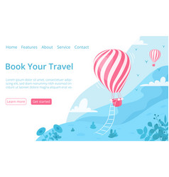 Hot air balloon website booking page template vector