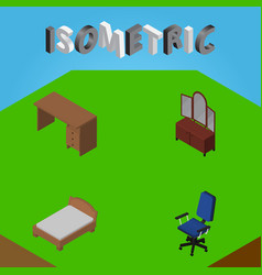 Isometric furniture set of bedstead office table vector