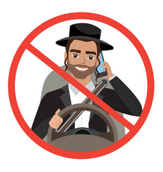 Jew man driving a car talking on the phone sign vector