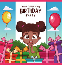Kids birthday party card invitation vector