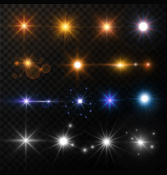 Light and stars shine lens flare sun beams glowing vector