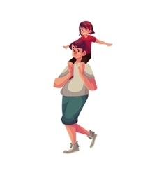Little daughter sitting on father shoulders and vector image