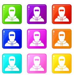 Man in balaclava set 9 vector