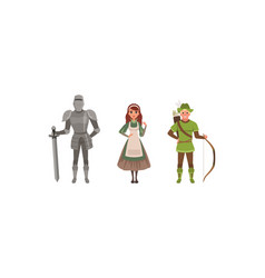 medieval characters dressed ancient clothes set vector image