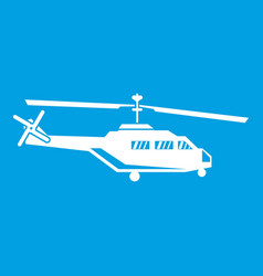 Military helicopter icon white vector