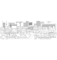 Monochrome linear cityscape concept vector