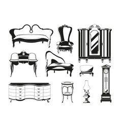 monochrome of vintage furniture for vector image