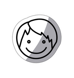 Monochrome sticker silhouette with boy face vector