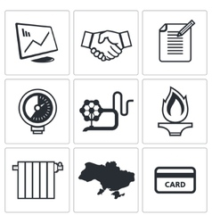 Natural gas industry icon collection vector image