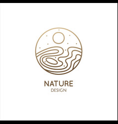 nature logo template linear round icon vector image