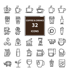 outline web mono symbol icon set drink vector image
