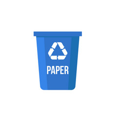 Paper recycle bin flat design vector
