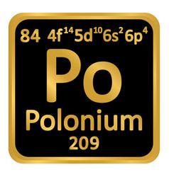 Periodic table element polonium icon vector