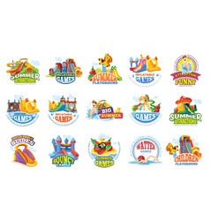 Playground labels aqua water park summer vector
