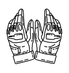 Police tactical gloves icon doodle hand drawn vector