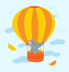 Rat in air balloon vector