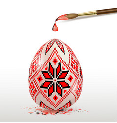 Red decorative easter egg and paintbrush vector