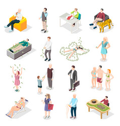 Rich people and life isometric icons vector