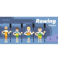 Rowing team costs about podium with medals vector