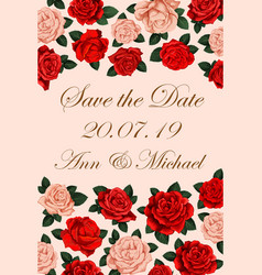 save the date rose flower wedding invitation vector image