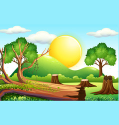 Scene with chopped wood in the field vector