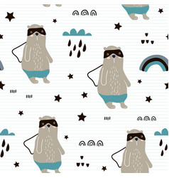 seamless pattern with hand drawn bear herorainbow vector image