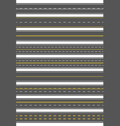Seamless set nine different road marking top vector