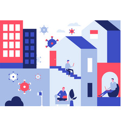 Self-isolation advice - colorful flat design style vector