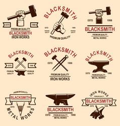 Set blacksmith and iron works emblems design vector