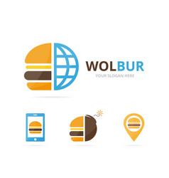 set burger logo combination hamburger and vector image