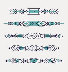 set decorative ethnic borders with american vector image