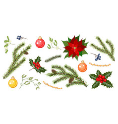set for christmas holiday decorations vector image