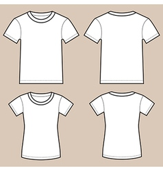 Set Of Blank Male And Female Shirts vector image