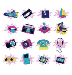 Set retro icons vector