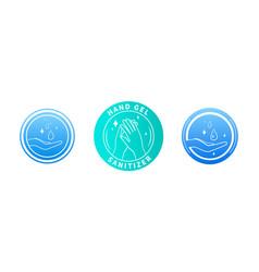set three hand sanitizer labels vector image