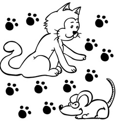 simple black and white cat and mouse vector image