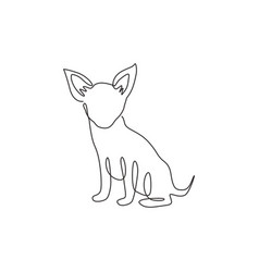 Single one line drawing funny chihuahua dog vector