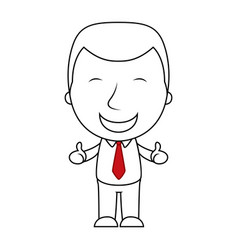 smiling businessman line making thumbs up sign vector image