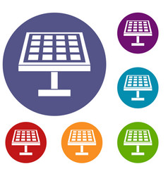 Solar energy panel icons set vector