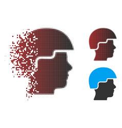 Sparkle pixel halftone soldier helmet icon vector