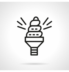 Spiral saving bulb black line icon vector image
