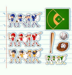Sticker design for baseball players and field vector
