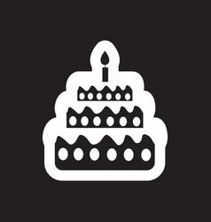 Style black and white icon birthday cake vector