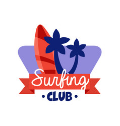 surfing club logo retro badge for surf school vector image