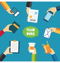 teamwork and meeting concept flat design vector image