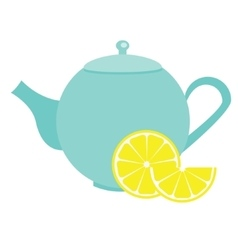 Teapot with lemon Blue Tea kettle vector image