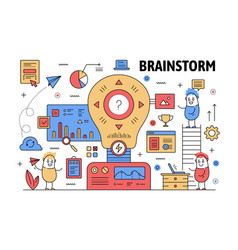 thin line brainstorm poster banner template vector image