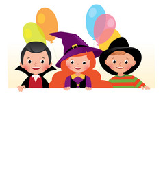 Three friends in halloween costumes a festive vector