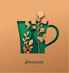 Upcycling green 3d papercut nature concept vector