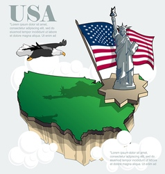 Usa country infographic map in 3d vector image